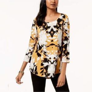 JM Collection Yellow Floral  Printed T-Shirt